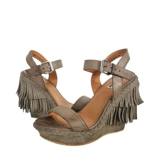 NOT RATED FRINGE WEDGE SUEDE SANDAL  TAUPE